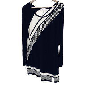 Black & White Striped Diagonal Hem Sweater Dress